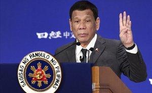 El presidente de Filipinas, Rodrigo Duterte, durante su discurso el pasado viernes en Tokio.