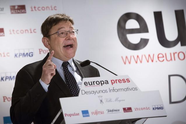 El presidente de la Comunidad Valenciana, Ximo Puig, durante una conferencia en Madrid. Foto de archivo.