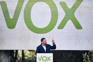 El presidente de Vox, Santiago Abascal durante un mítin.