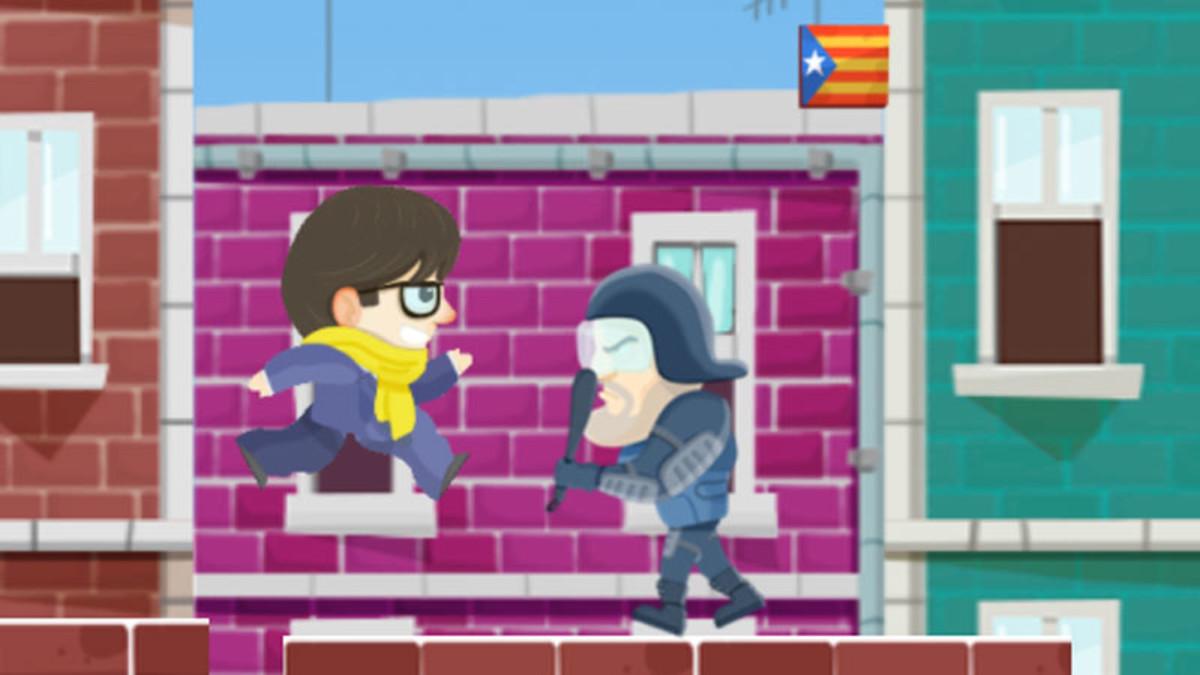 El personaje de Carles Puigdemont, frente a un antidisturbios en una imagen del juego 'Puigdemont Go!'.