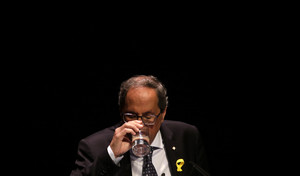 Regional Catalan President Quim Torra pauses during his speech in Barcelona, Spain, Tuesday, Sept. 4, 2018. Torra on Tuesday urged his separatist supporters to ensure a massive turnout at upcoming public gatherings, saying large numbers on the streets will help compel the Spanish government to grant the region a vote on self-determination. (AP Photo/Manu Fernandez)