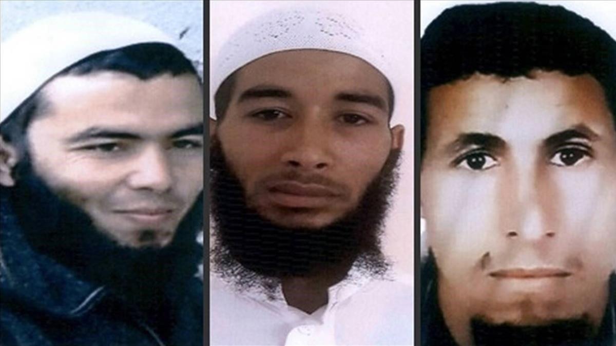 Retratos de tres sospechosos difundidos por las fuerzas de seguridad marroquies.
