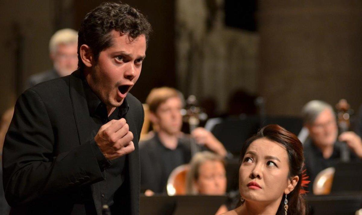 James Way (Tempo)y Sunhae Im (Bellezza), en 'El Trionfo del Tempo e del Disinganno',con la Freiburger Barockorchester dirigida por RenéJacobs,en el Festival de Ambronay.