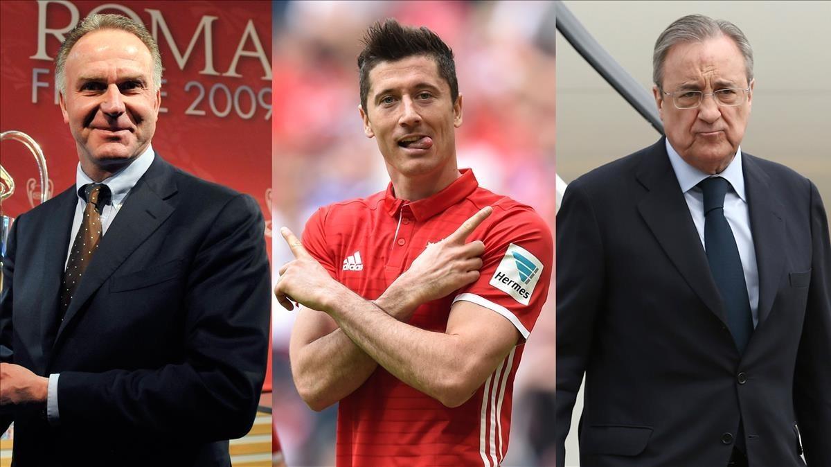 Rummenigge, Lewandowski y Florentino Pérez.