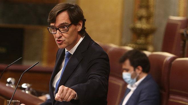 El ministro de Sanidad, Salvador Illa, durante su intervención en el pleno de este 29 de octubre en el Congreso