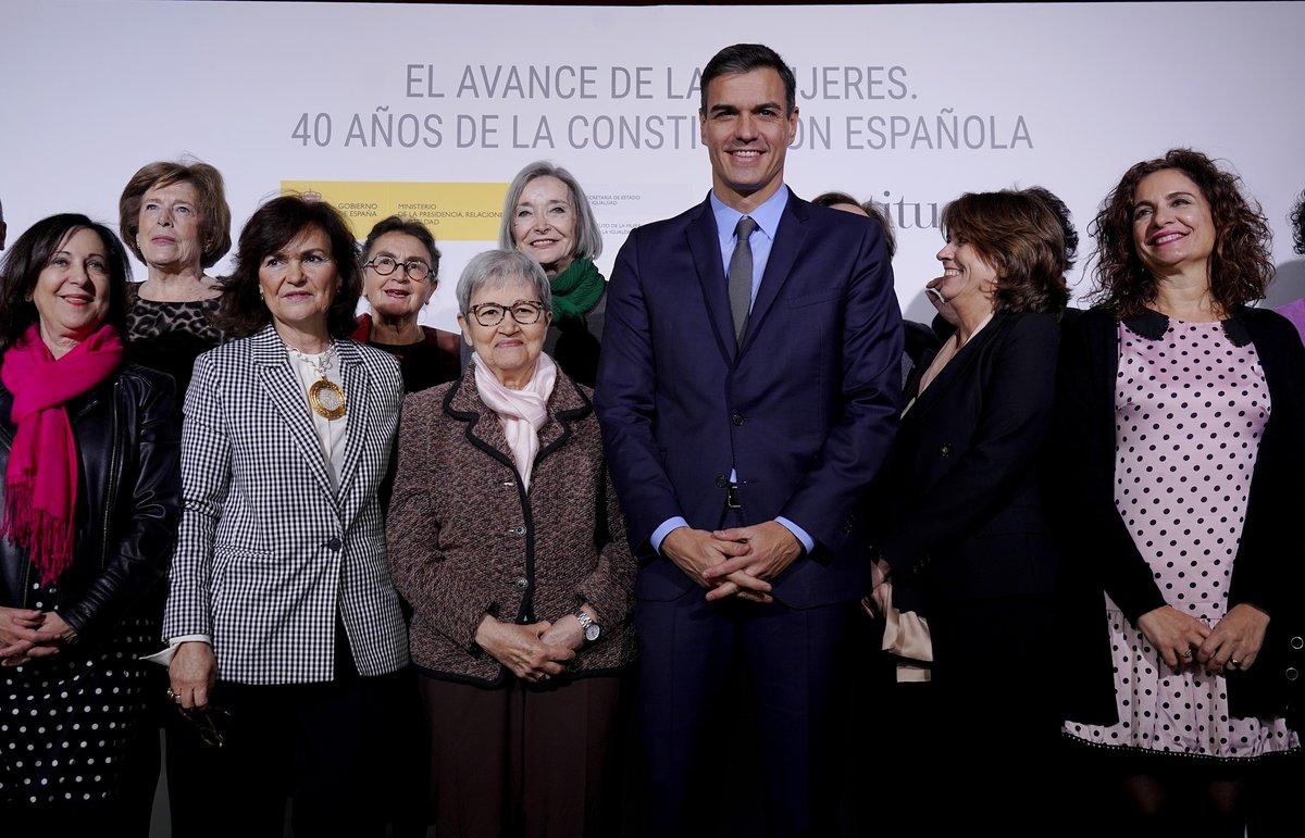 El presidente del Gobierno, Pedro Sánchez, en el acto El avance de las mujeres. 40 años de la Constitución Española.