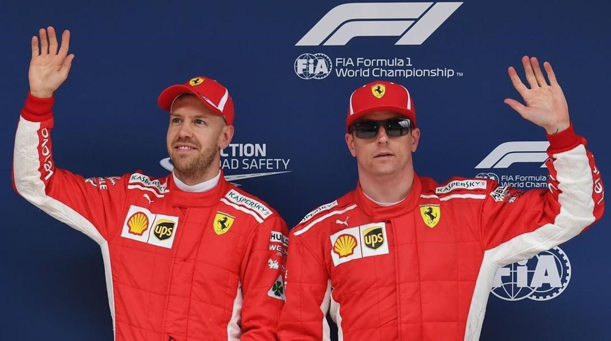 Sebastian Vettel y Kimi Raikkonen, dominadores hoy de la pole en los últimos ensayos del GP de China.