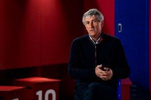 Setién, en un momento de la entrevista con Barça TV.