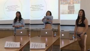 Letitia Chai, durante la exposición de su tesis en la Universidad de Cornell