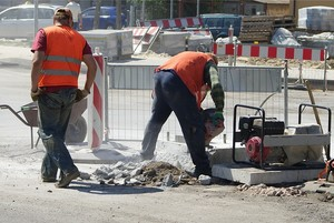 Trabajdores de una obra pública.