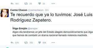 El tuit de Chacón en respuesta a Errejón.