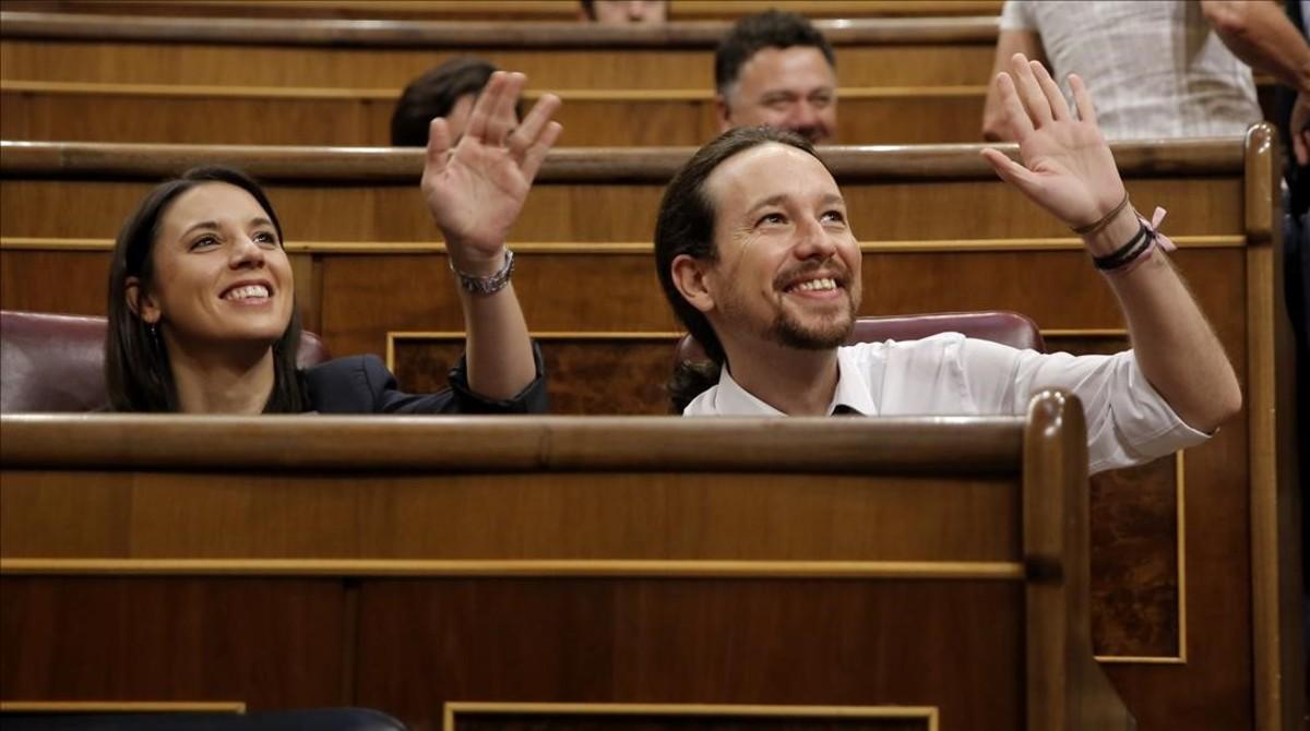 La bancada de Podemos, este miércoles.