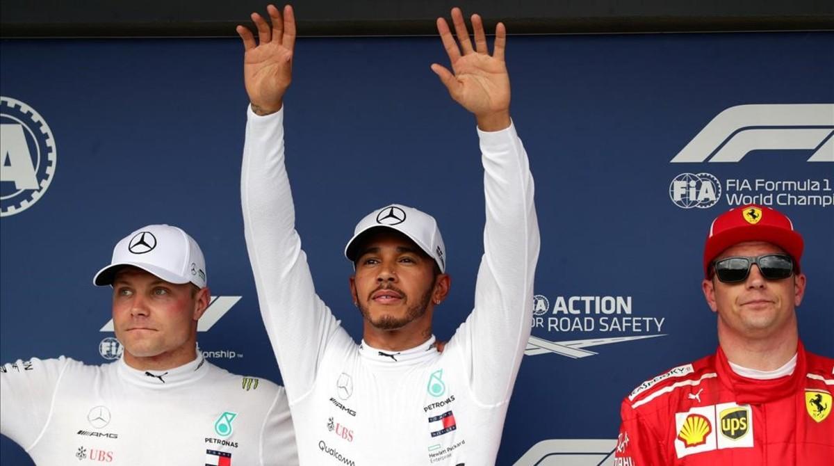 Valtteri Bottas, Lewis Hamilton y Kimi Raikkonen, hoy en Hungria.