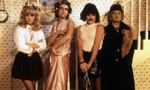 El grupo Queen, en la grabación del videoclip de la canción I Want To Break Free