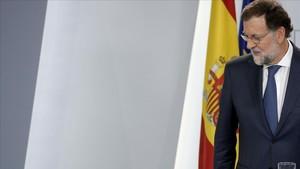 Mariano Rajoy, después de una rueda de prensa en la Moncloa, el pasado 7 de septiembre.
