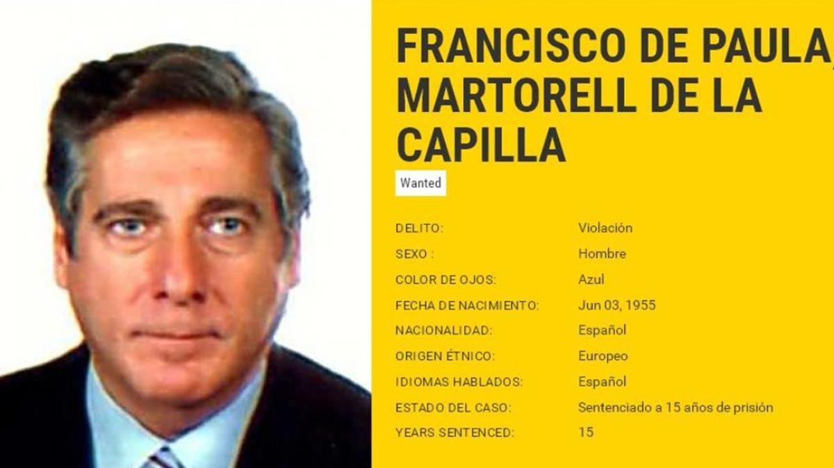 La ficha pública de Europol de Francisco de Paula Martorell.