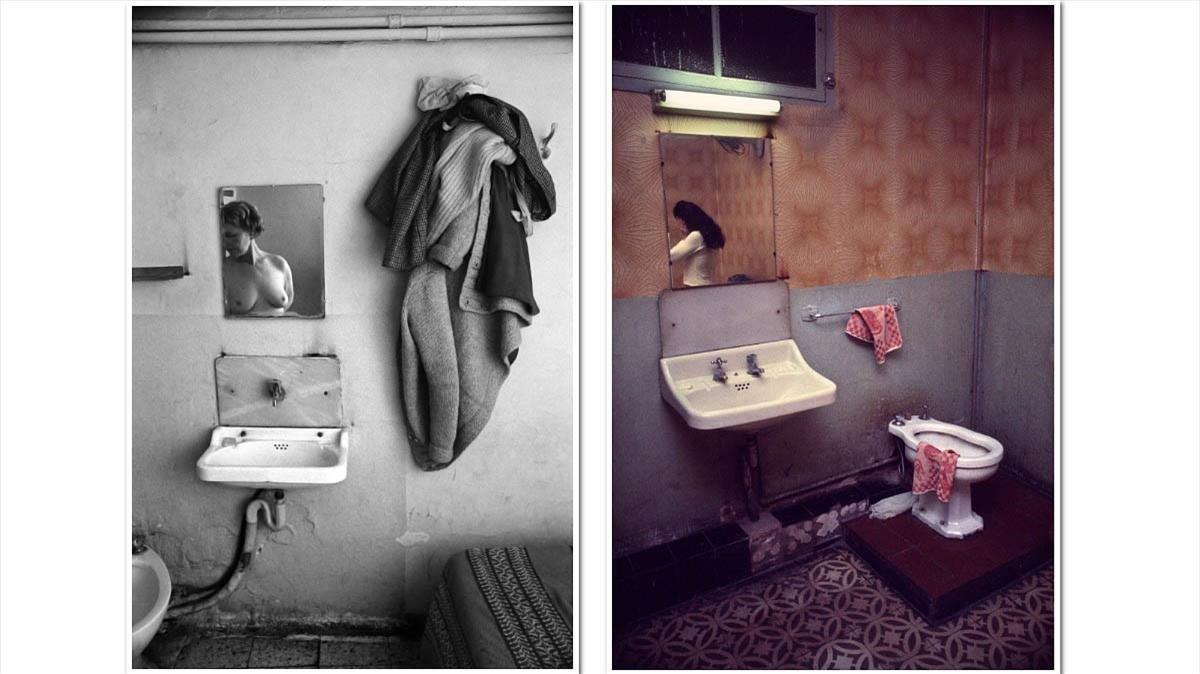 Dos prostitutas reflejadas en el espejo, modelos de la Expedición Cuntíes 1978 al corazón del Raval.