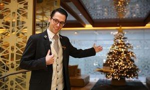 Claudio Heldt, en la conserjería del Hotel Mandarin Oriental, en el paseo de Gràcia.