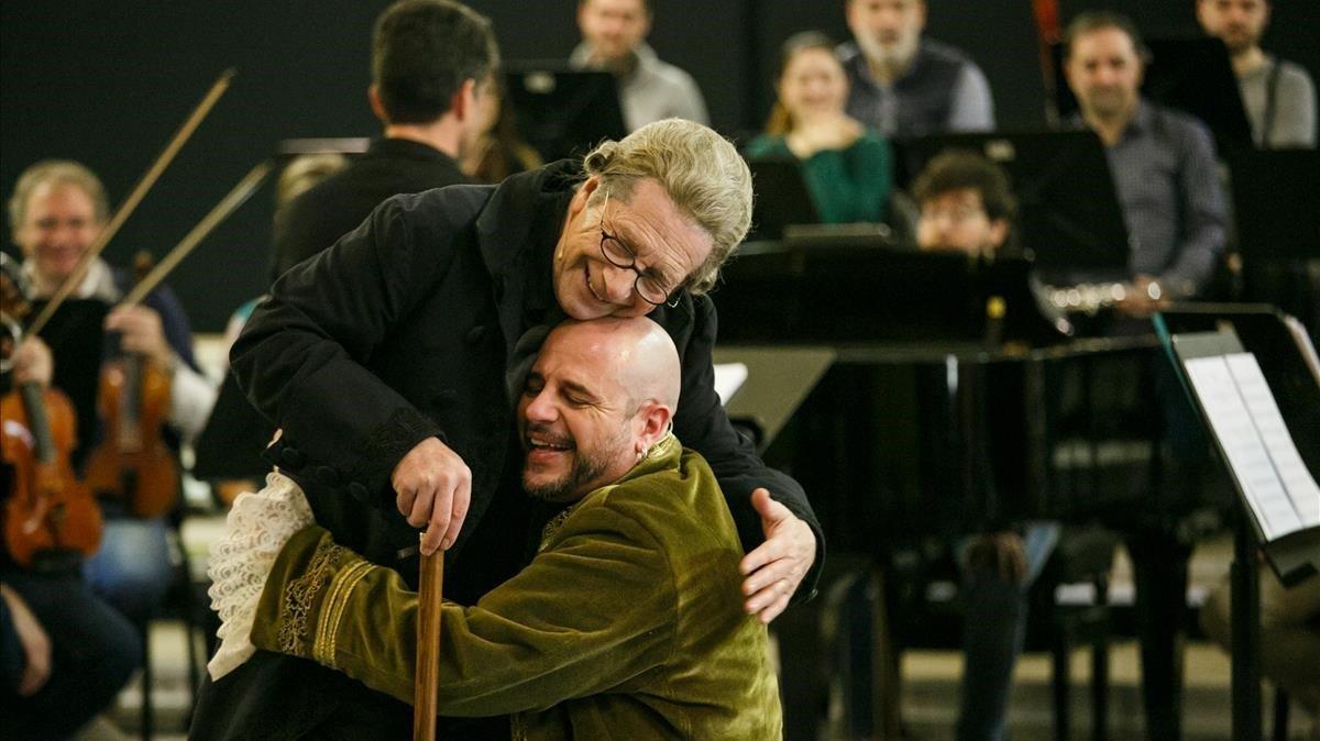 Joany Roger Pera, en un ensayo de Papá Mozart en Sabadell.