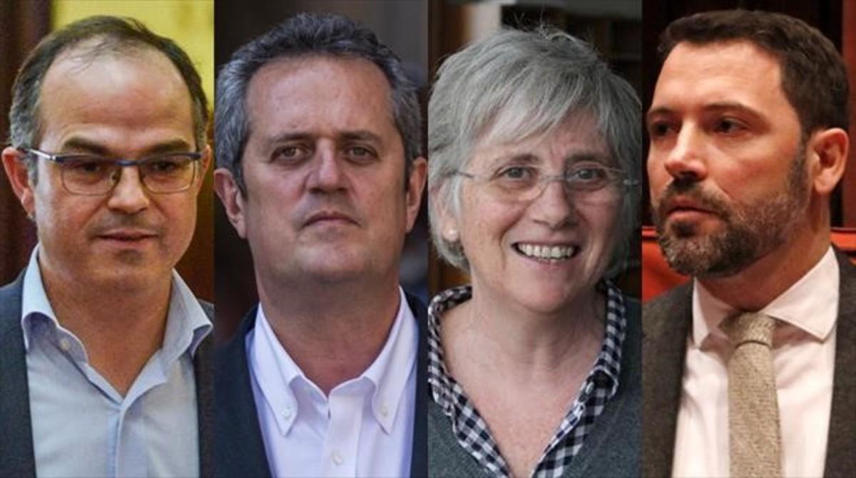 Jordi Turull, Joaquim Forn, Clara Ponsatí y Víctor Cullell