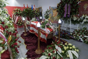 The casket of former Spanish striker Enrique Castro Quini is seen at the Molinon stadium in Gijon