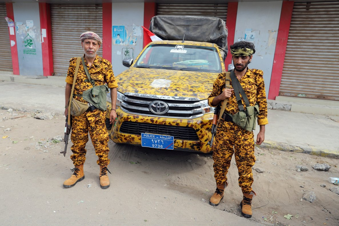 Houthi allied police troopers secure a street in HodeidahYemenREUTERS Abduljabbar Zeyad