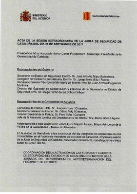 Acta de la junta de seguridad del 28 de septiembre del 2017.