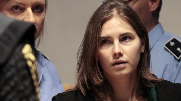 Amanda Knox durante su alegato final en el juicio celebrado hoy en Italia.