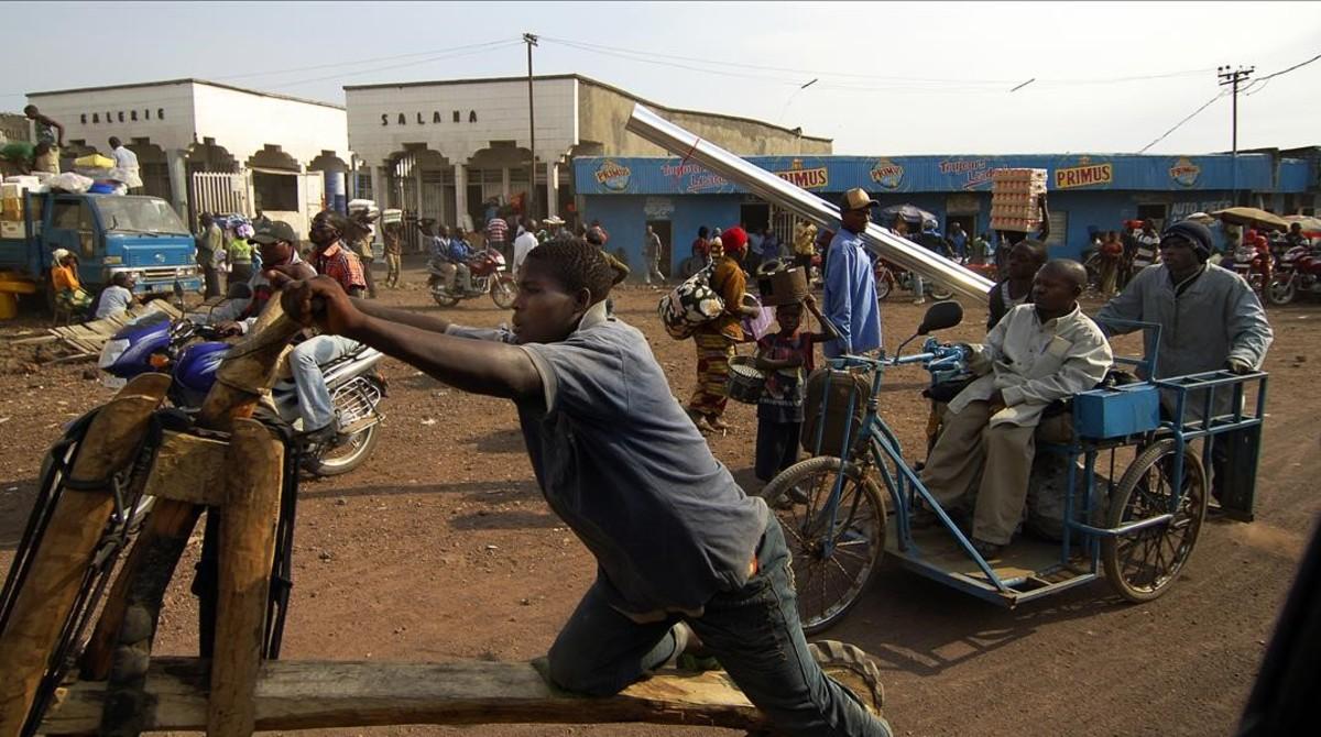El centro de la ciudad de Goma, en el Congo, y su tráfico rodado.