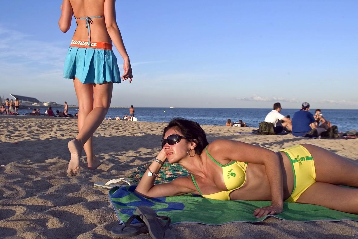 Ambiente de playa en Barcelona.