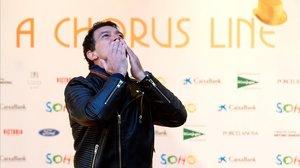 Antonio Banderas posa este viernes momentos antes del pase del musical A Chorus Line.