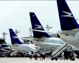 Aviones de Aerolíneas Argentinas en el aeropuerto de Buenos Aires.