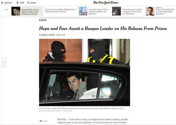 Captura de la entrevista que publica 'The New York Times' a Arnaldo Otegi en su web.