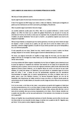 Carta en la que Juana Rivas pide protección jurídica internacional para sus hijos