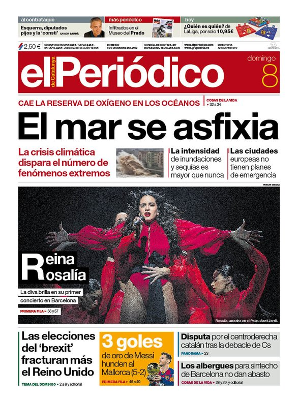 La portada de EL PERIÓDICO del 8 de diciembre del 2019