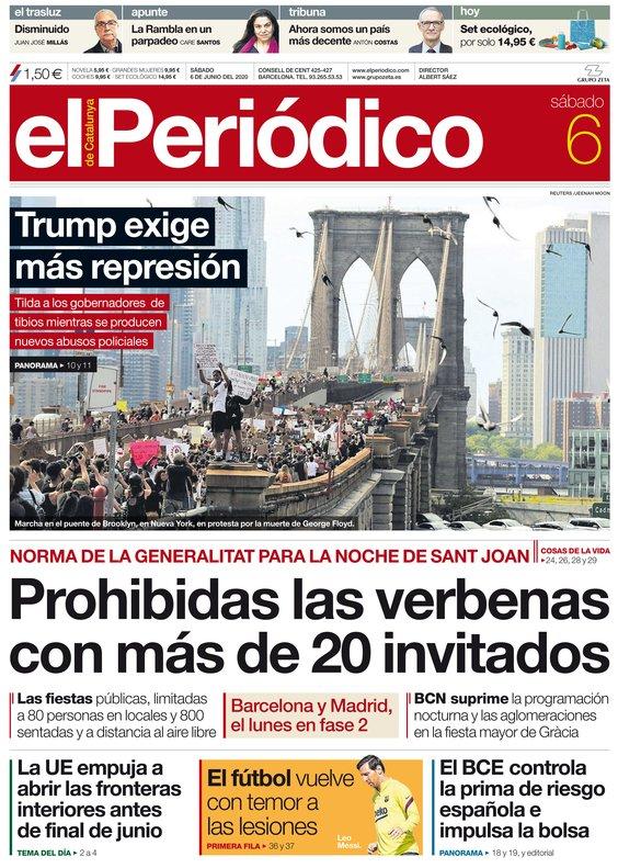 La portada d'EL PERIÓDICO del 6 de juny del 2020