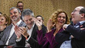 Collboni, Marlaska, Batet e Iceta, en un acto por los derechosLGTBI, este miércoles, en Barcelona.
