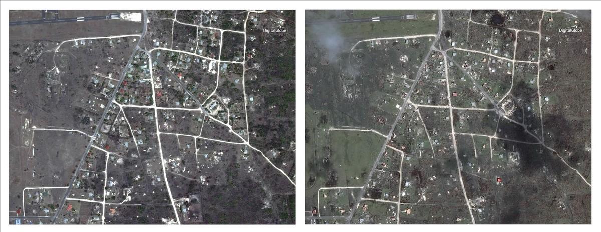 Combo de imágenes de satélite que muestran Codrington, en Antigua y Barbuda, antes y después de ser arrasada por el huracán Irma.
