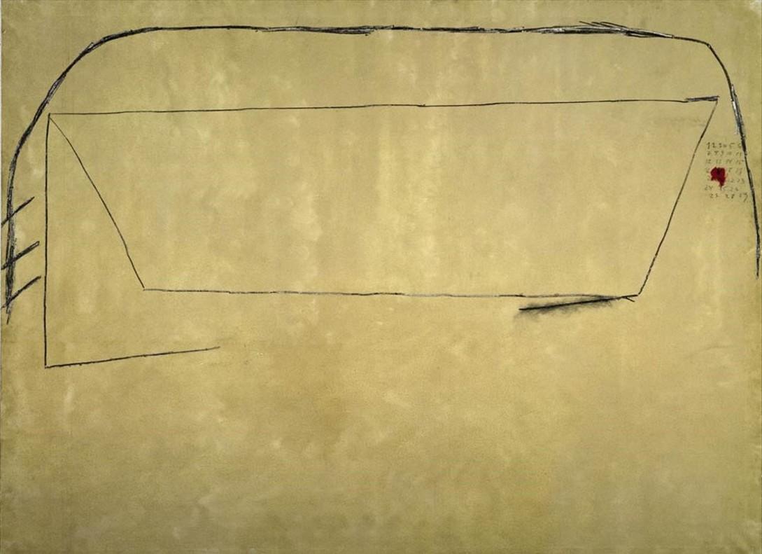 Composición con números (1976), obra en la queTàpies mostró su crítica política, realizada a los pocos días de la muerte a manos de la Guardia Civil franquistadel anarquista Oriol SoléSugranyes, fugado junto a otros presos de la cárcel de Segovia.