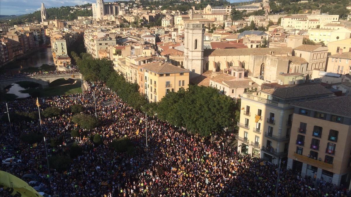 Concentración en Girona.