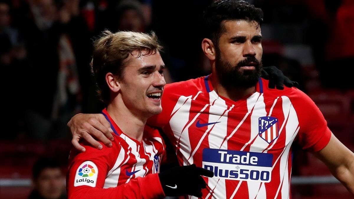 Costa y Griezmann celebran un gol del Atlético ante el Leganés.