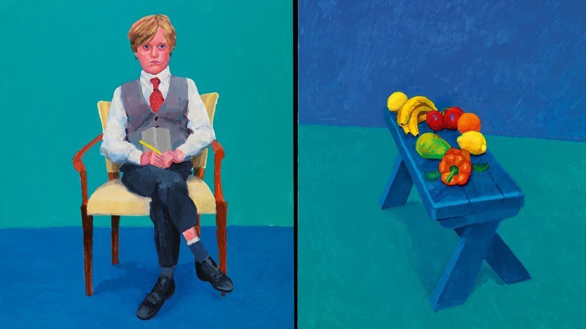 Fruta sobre una banqueta y retrato deRufus Hale, de David Hockney, piezas de la exposición en el Guggenheim de Bilbao.