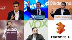 Atresmedia anuncia un debate electoral a cinco con la presencia por primera vez de Vox