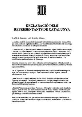 Declaración de independencia de Junts pel Sí y la Cup