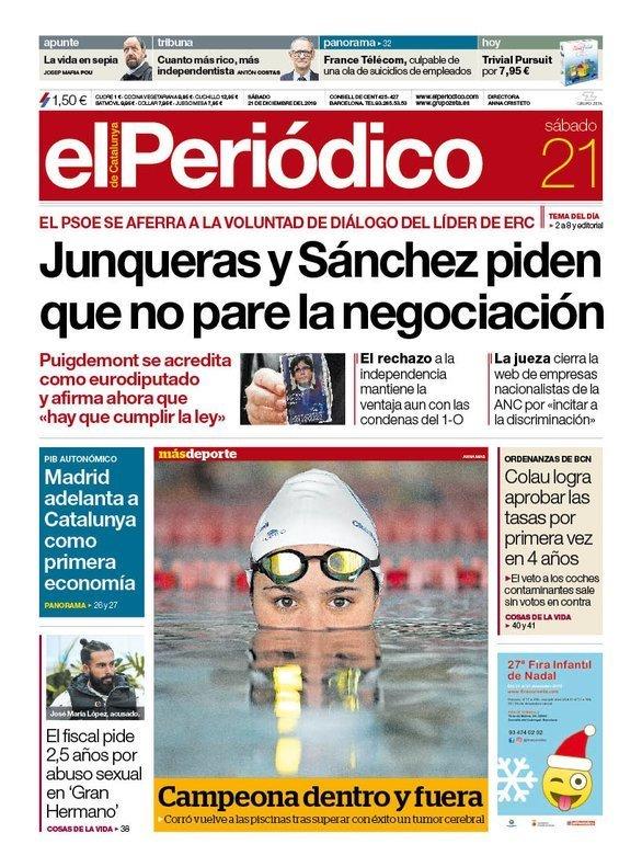 Prensa de hoy: Las portadas de los periódicos del sábado 21 de diciembre del 2019