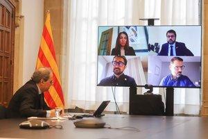 Quim Torra, durante la reunión telemática del Govern.