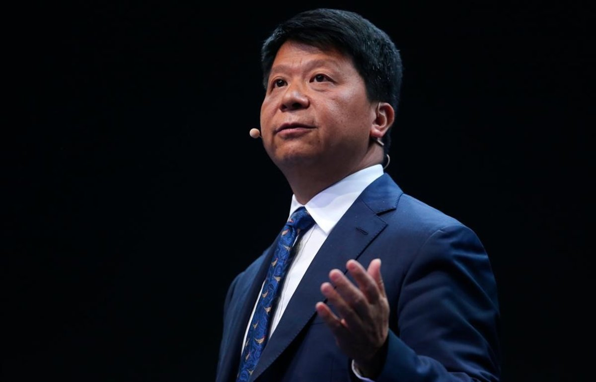 Guo Ping, presidente rotatorio de Huawei, en el Mobile World Congress de Barcelona.