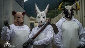 Imagen promocional de la atracción El matadero de Horrorland.