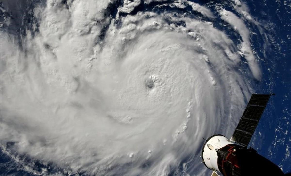 El huracán Florence, visto desde la Estación Espacial Internacional.