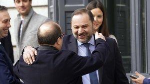 Miguel Iceta y José Luis Ábalosen el Congreso de los Diputados, hoy